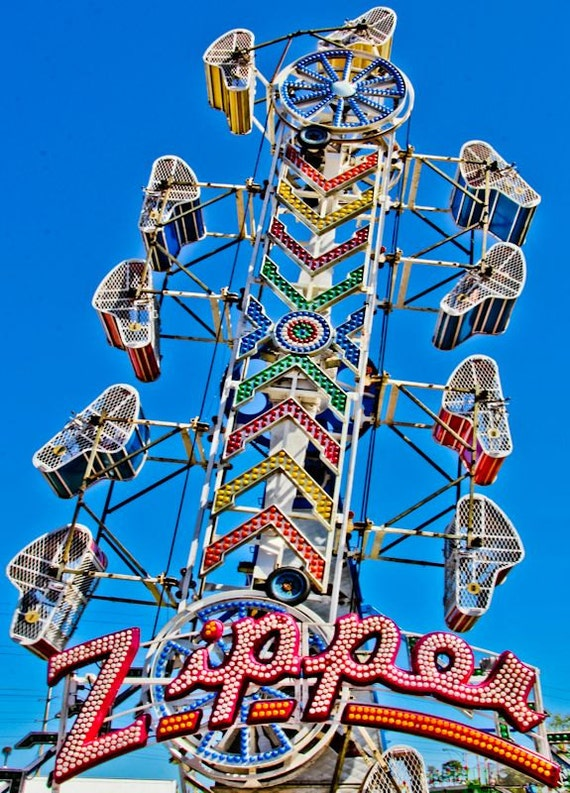 The Zipper Carnival Ride Fine Art Print or Canvas Gallery Wrap