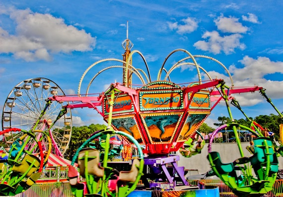Tornado Spin Carnival Ride Fine Art Print or Canvas Gallery Wrap