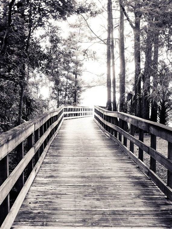 Boardwalk in the Park Black & White Fine Art Print or Canvas Gallery Wrap