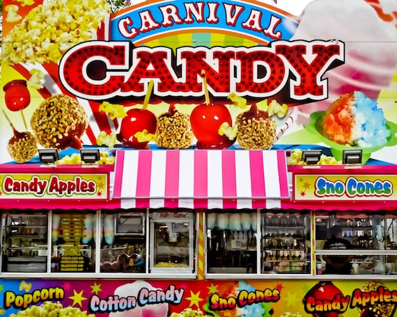 Carnival Cotton Candy Food Vendor Fine Art Print or Canvas Gallery Wrap