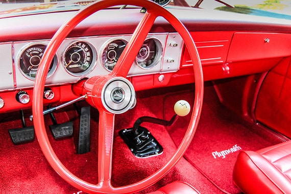 Plymouth Steering Wheel  Car Fine Art Print or Canvas Gallery Wrap