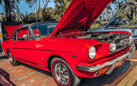 1966 Ford Mustang GT Convertible Car Fine Art Print or Canvas Gallery Wrap