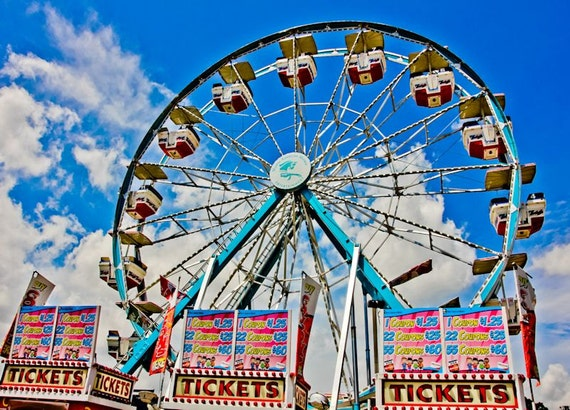 Ferris Wheel and Ticket Booths Carnival Fair Fine Art Print or Canvas Gallery Wrap