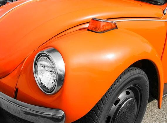 Volkswagen Beetle Orange Front End Car Fine Art Print or Canvas Gallery Wrap