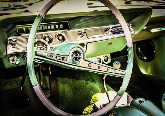 Chevrolet Impala Car 1962 Steering Wheel Fine Art Print or Canvas Gallery Wrap