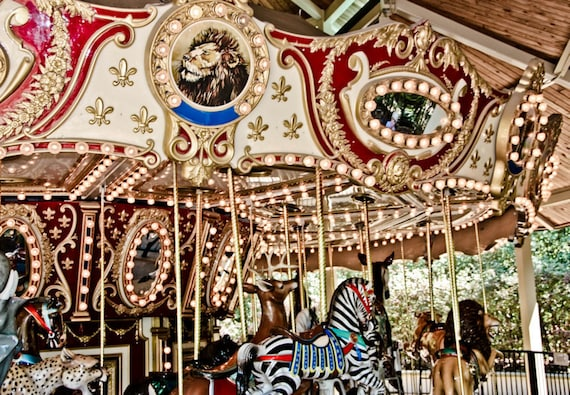Golden Animal Carousel Ride Fine Art Print or Canvas Gallery Wrap