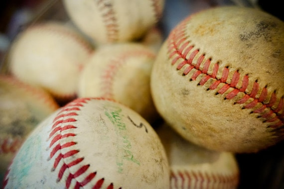 Vintage Baseballs Fine Art Print or Canvas Gallery Wrap
