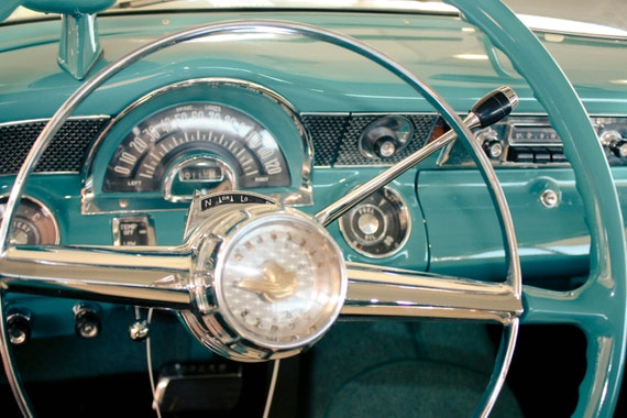 1955 Pontiac Star Chief Steering Wheel Fine Art Print or Canvas Gallery Wrap