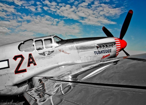 Tuskegee Airmen Airplane Fine Art Print or Canvas Gallery Wrap