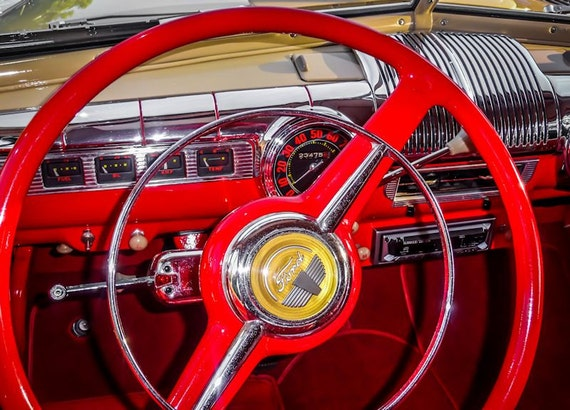 Ford Super Deluxe Steering Wheel Car Fine Art Print or Canvas Gallery Wrap