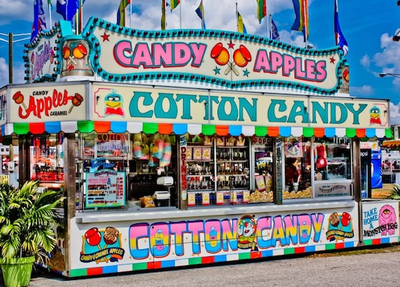 Neon Cotton Candy Fair Booth Fine Art Print or Canvas Gallery Wrap