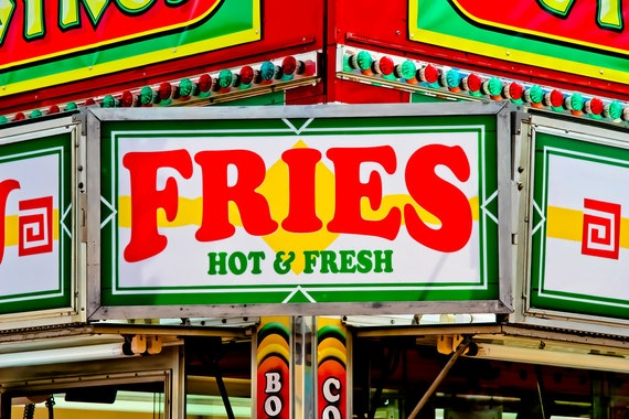 French Fries Neon Sign Food Vendor Fine Art Print or Canvas Gallery Wrap