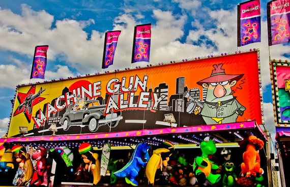 Machine Gun Alley Shooting Carnival Fair Game Fine Art Print or Canvas Gallery Wrap