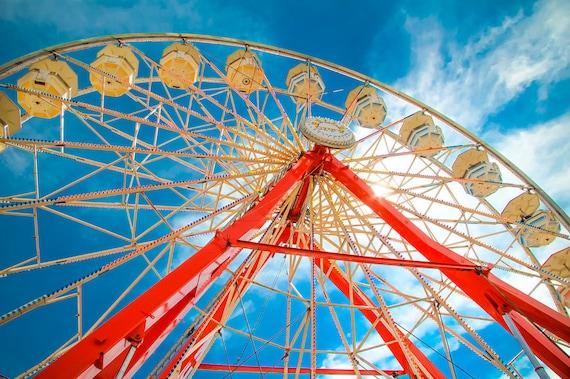 Red & White Ferris Wheel Fine Art Print or Canvas Gallery Wrap