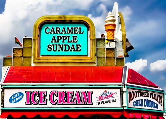 Caramel Apple Sundae Carnival Food Fine Art Print or Canvas Gallery Wrap