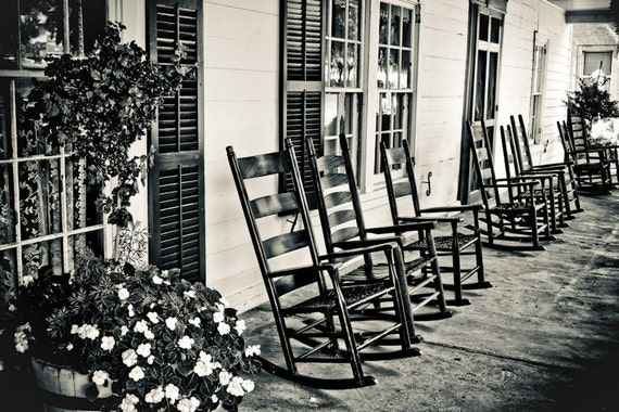 Country Front Porch & Rocking Chairs Fine Art Print or Canvas Gallery Wrap