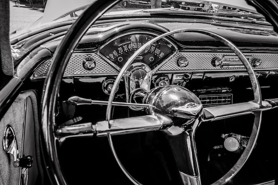 Chevrolet Bel Air Steering Wheel & Dash Car Fine Art Print or Canvas Gallery Wrap