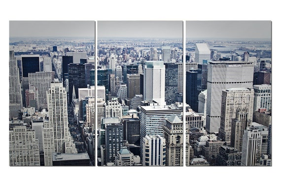 New York City View Canvas Triptych, 3 Panel Art, LARGE, Ready to Hang
