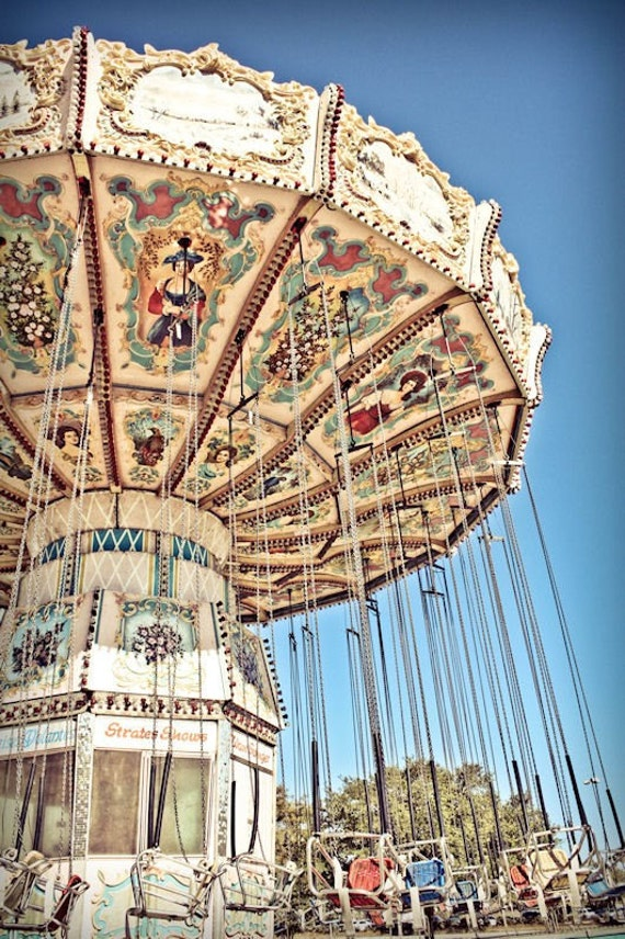 Carnival Swings Ride Fine Art Print or Canvas Gallery Wrap