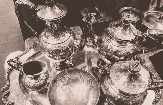 Vintage Silver Tea Set Black & White Fine Art Print or Canvas Gallery Wrap