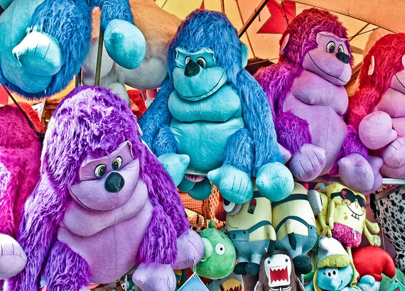 Carnival Fair Game Prizes Stuffed Animals Fine Art Print or Canvas Gallery Wrap
