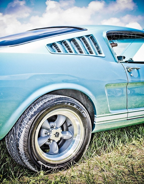 Ford Fastback Mustang Car Fine Art Print or Canvas Gallery Wrap