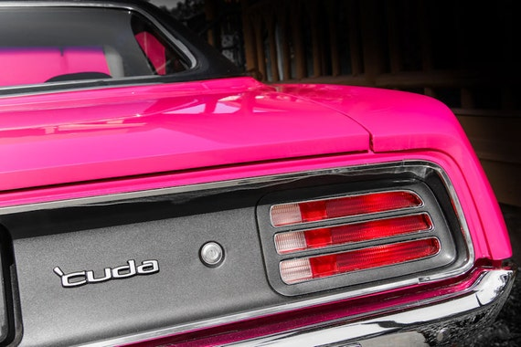 Plymouth Barracuda PINK Car Fine Art Print or Canvas Gallery Wrap
