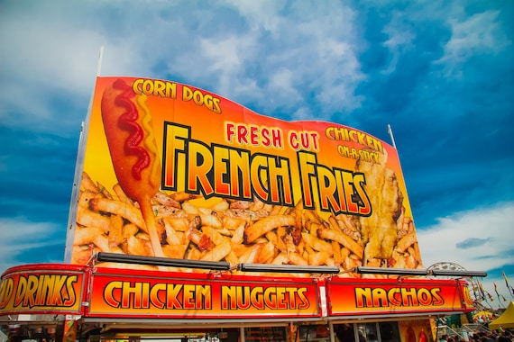 French Fries Carnival Food Vendor Fine Art Print or Canvas Gallery Wrap