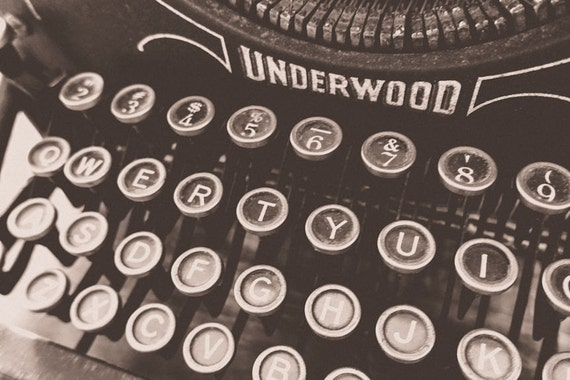 Vintage Underwood Typewriter Fine Art Print or Canvas Gallery Wrap