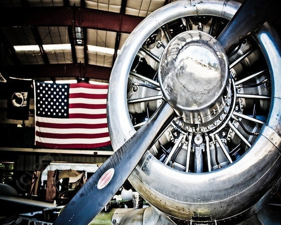 Airplane Propeller & USA Flag Fine Art Print or Canvas Gallery Wrap