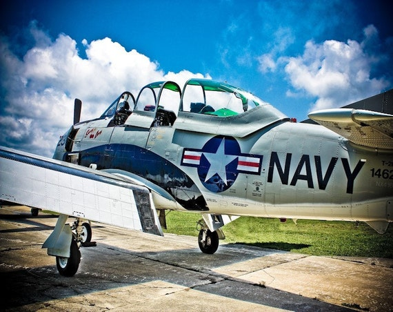 Vintage US Navy Airplane Fine Art Print or Canvas Gallery Wrap