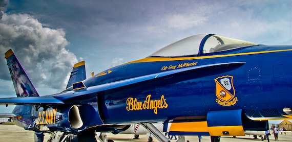 Blue Angels - F/A-18 Hornet Plane Side View Fine Art Print or Canvas Gallery Wrap