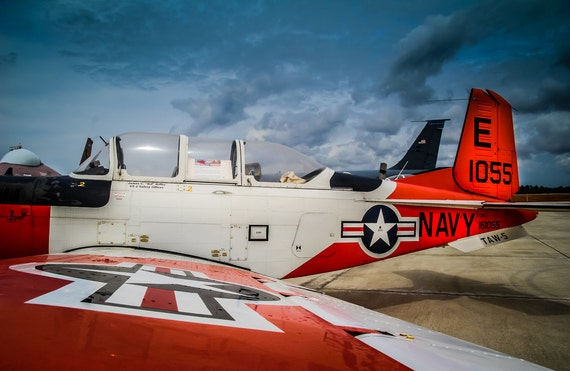 Beechcraft T-34 Airplane Fine Art Print or Canvas Gallery Wrap