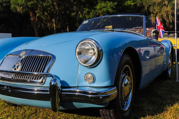 Blue MGA Convertible British Car Fine Art Print or Canvas Gallery Wrap
