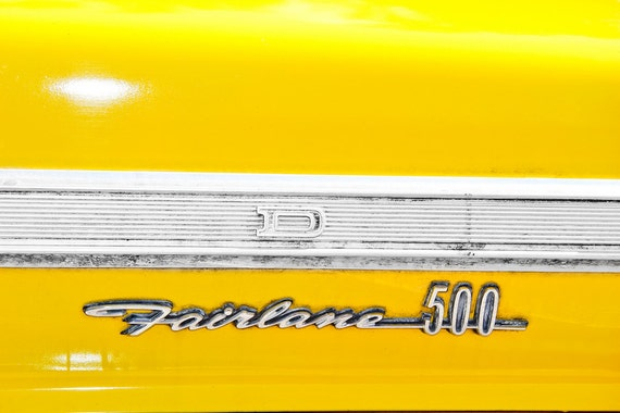 Ford Fairlane 500 Lettering Fine Art Print or Canvas Gallery Wrap