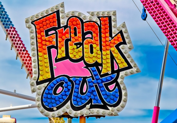 Freak Out Carnival Ride Neon Sign Fine Art Print or Canvas Gallery Wrap