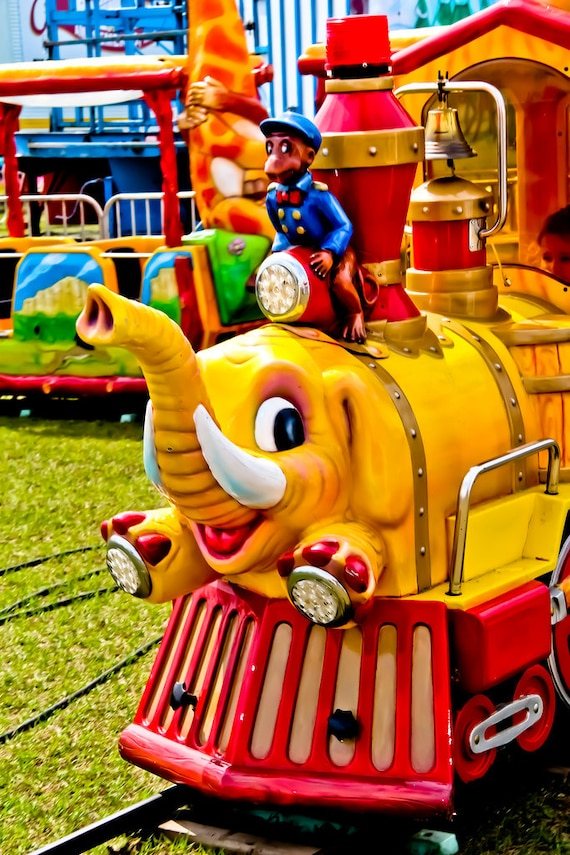 Elephant & Monkey Train Kid Ride Fine Art Print or Canvas Gallery Wrap