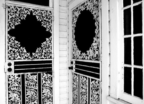 1911 Victorian Porch Doors in Black and White Fine Art Print or Canvas Gallery Wrap