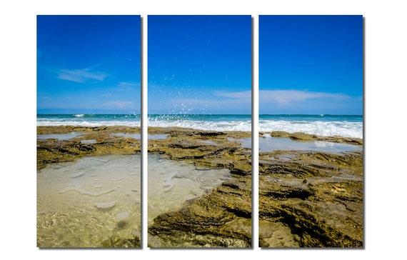 Washington Oaks Gardens State Park Beach Canvas Triptych, 3 Panel Fine Art, LARGE, Ready to Hang