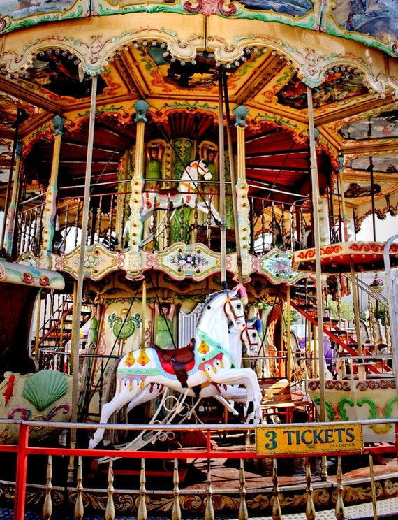 Double Decker Carnival Carousel Ride Fine Art Print or Canvas Gallery Wrap