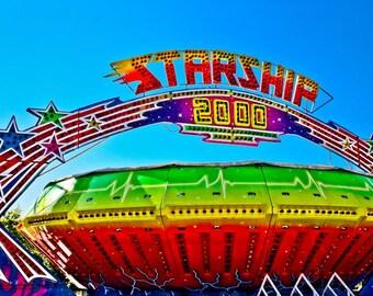 Carnival Gravitron Spin Ride Starship Fine Art Print or Canvas Gallery Wrap