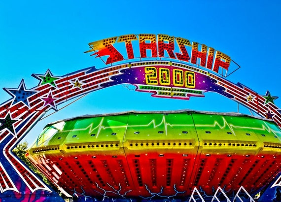 Carnival Gravitron Spin Ride Starship Fine Art Print or Canvas Gallery Wrap