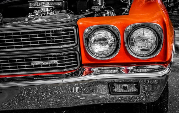 1970 Orange Chevrolet Chevelle Car Fine Art Print or Canvas Gallery Wrap