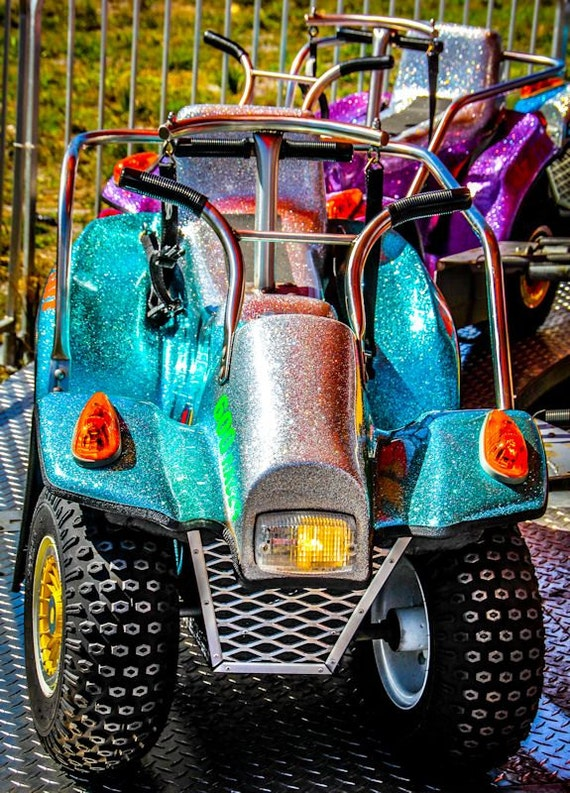 Metallic Car Motorcycle Carnival Ride Fine Art Print or Canvas Gallery Wrap
