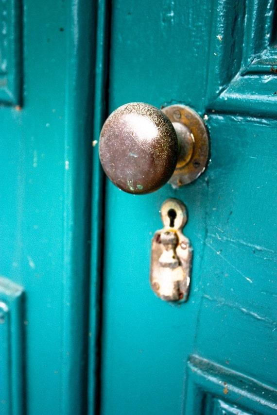 Vintage Blue Door Fine Art Print or Canvas Gallery Wrap