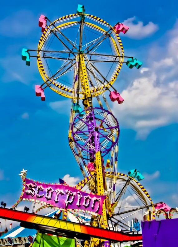 Carnival Sky Wheel Scorpion Ride Fine Art Print or Canvas Gallery Wrap