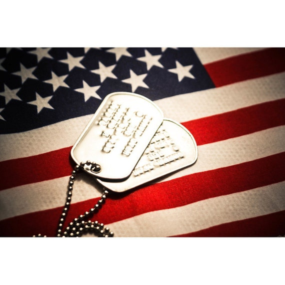 Military Dog Tags & USA Flag Fine Art Print or Canvas Gallery Wrap