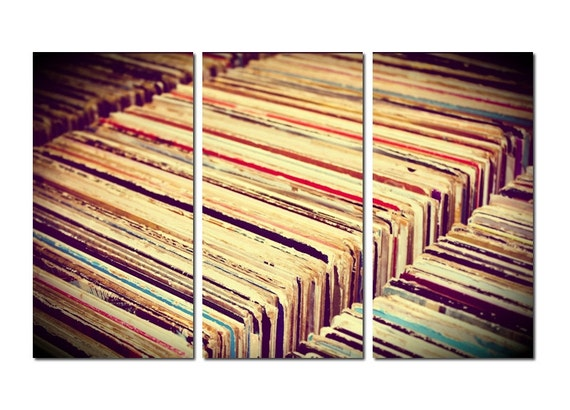 Vintage Vinyl Record Collection Canvas Triptych, 3 Panel Fine Art, LARGE, Ready to Hang