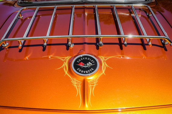 Chevrolet Corvette Logo & Luggage Rack Car Fine Art Print or Canvas Gallery Wrap