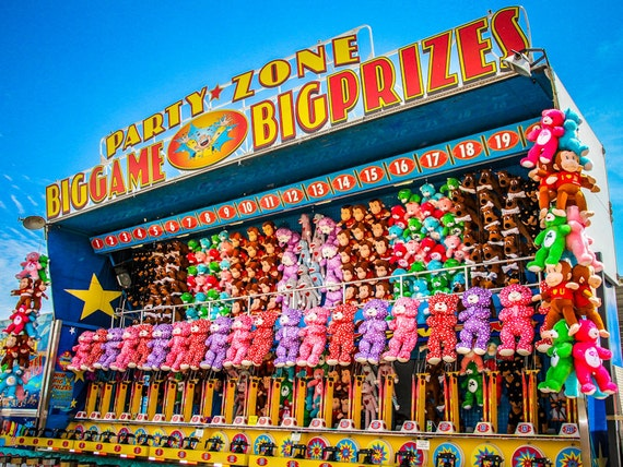 Party Zone Prizes Carnival Fair Booth Fine Art Print or Canvas Gallery Wrap